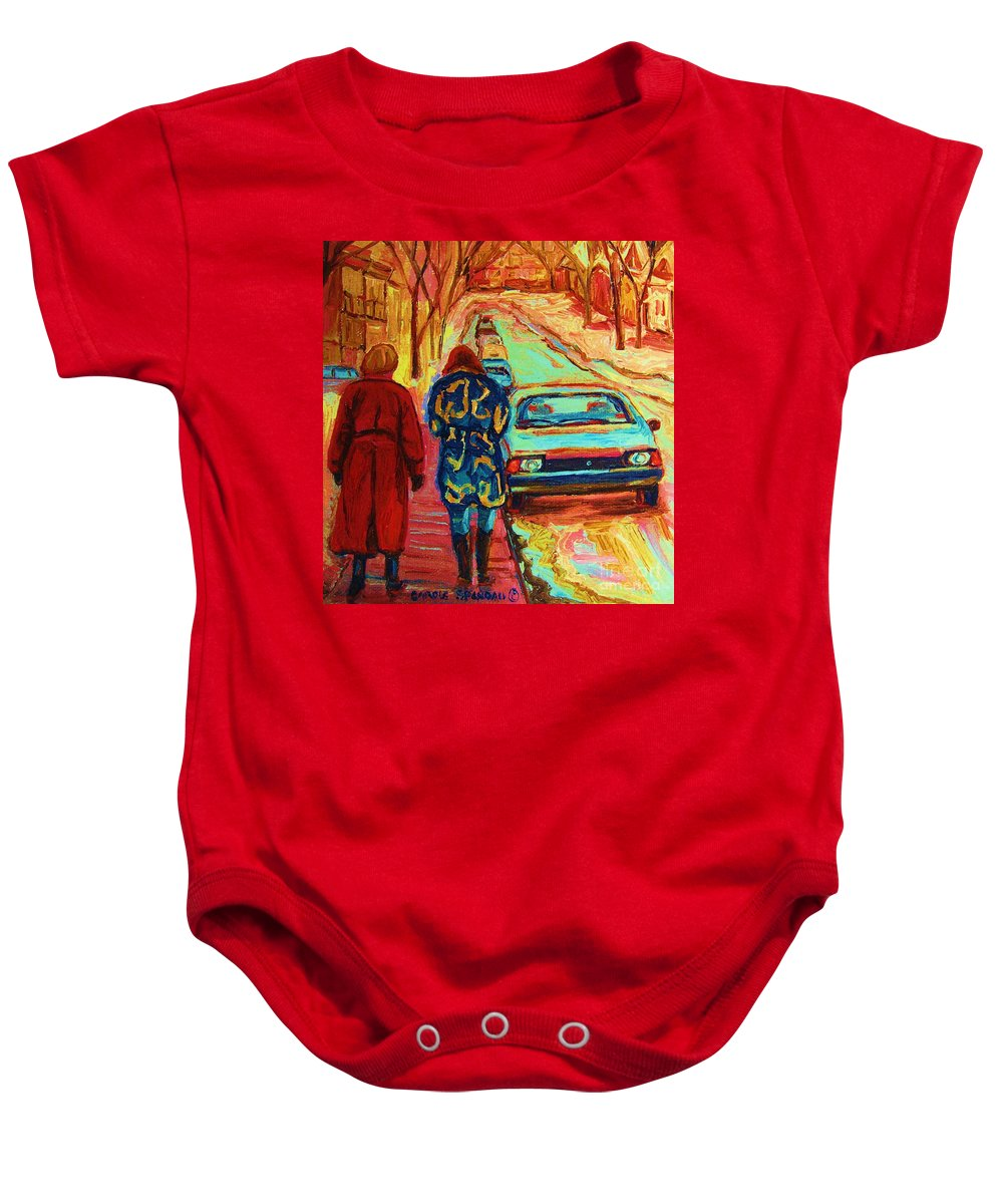 Inspirational Baby Onesie featuring the painting Best Friends Forever by Carole Spandau