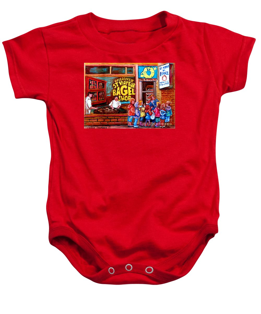 Children Baby Onesie featuring the painting Bet You Cant Eat Just One by Carole Spandau