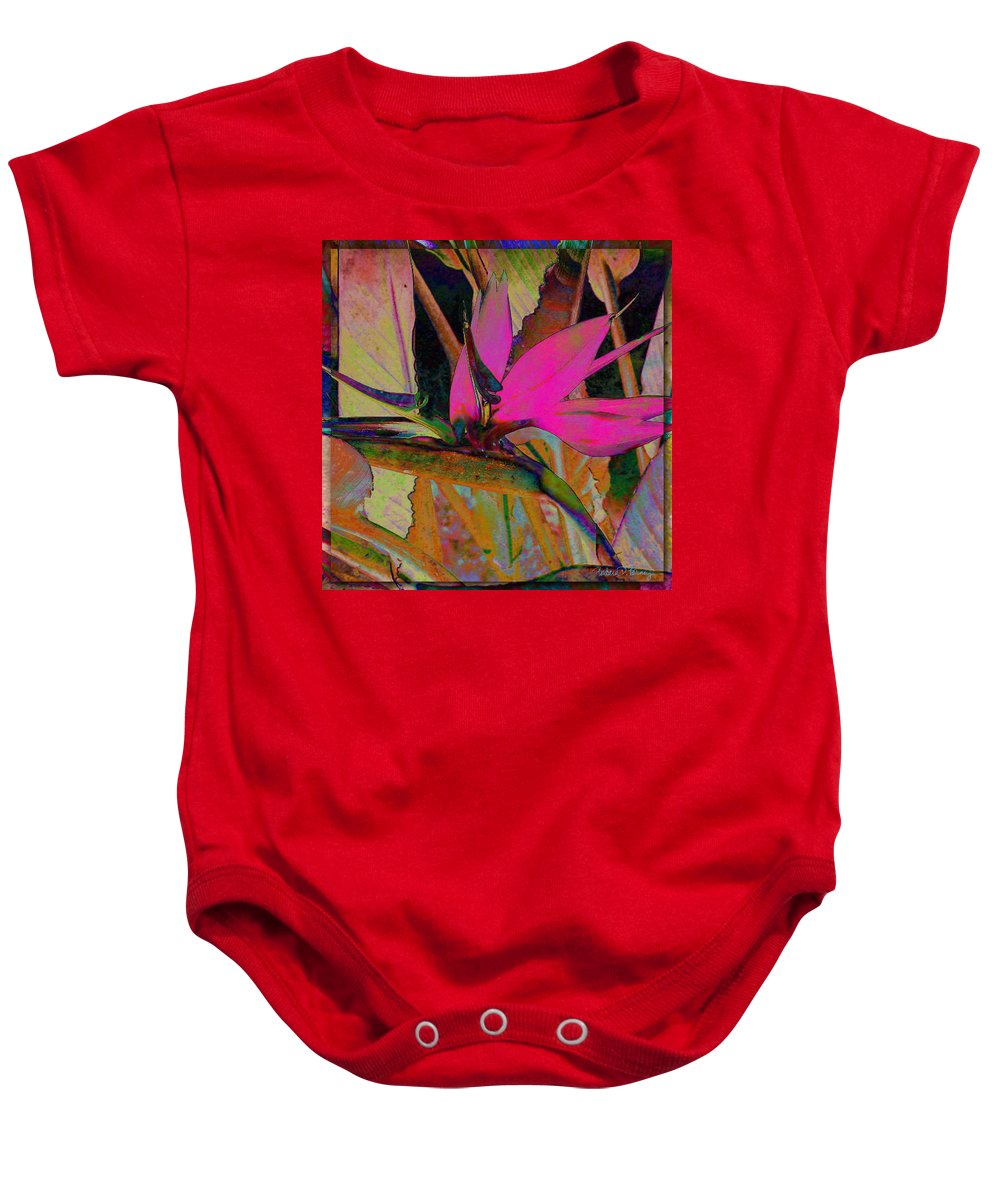 Flower Baby Onesie featuring the digital art Bird Of Paradise by Barbara Berney