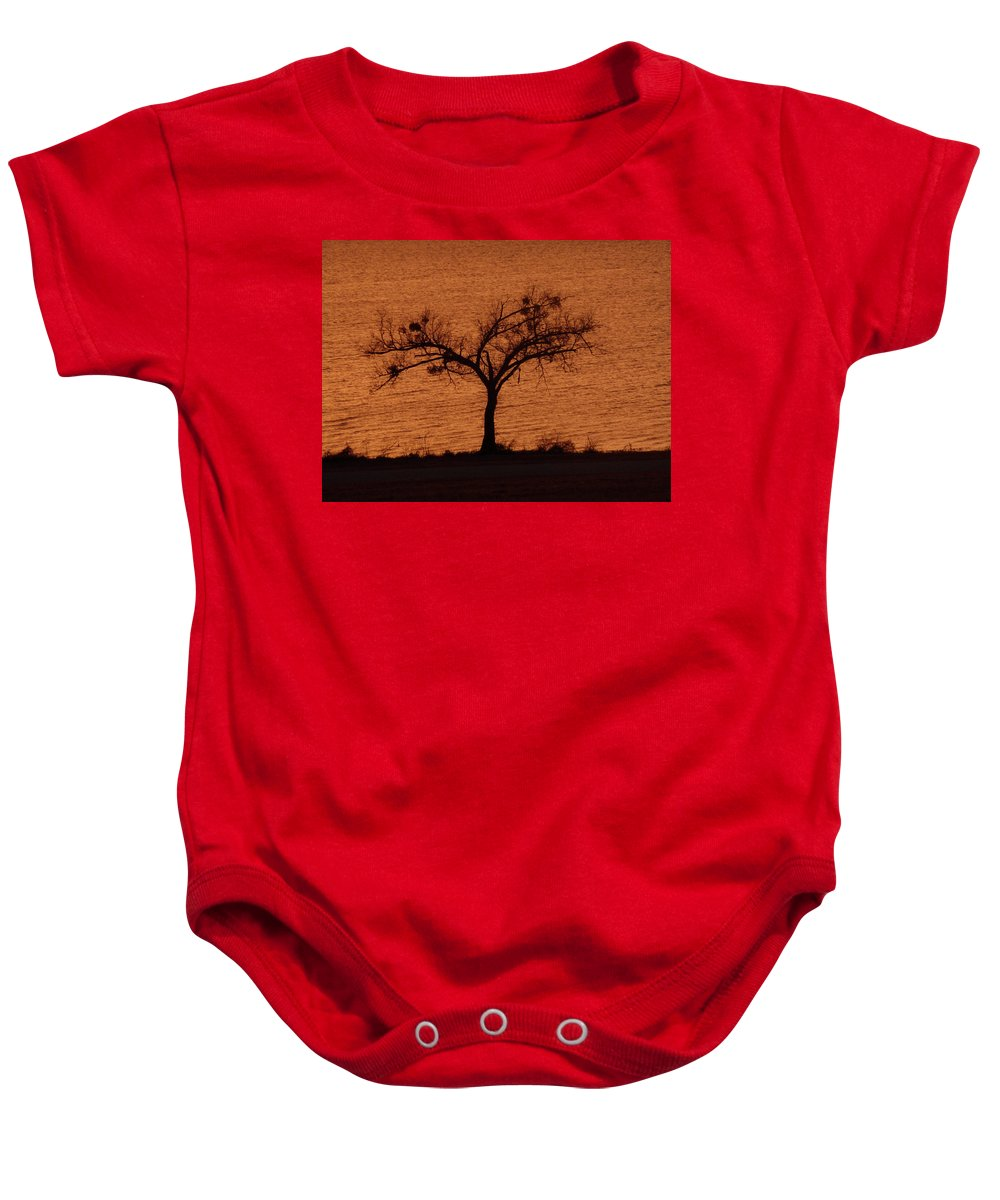 Tree Baby Onesie featuring the photograph Black Lace Tree by Angela Wright