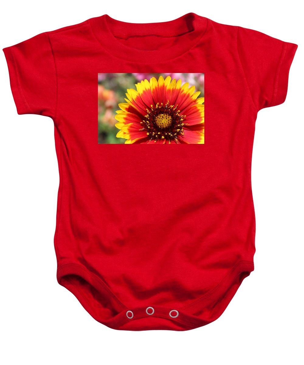 Blanket Flower Baby Onesie featuring the photograph Blanket Of Petals by Susan Lotterer