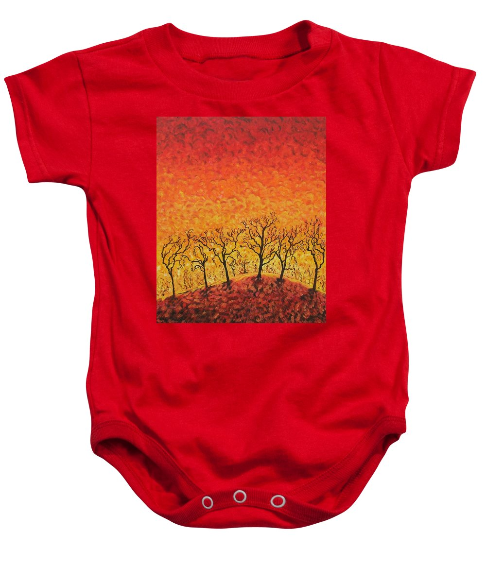 Fire Baby Onesie featuring the painting Blaze by Caroline Street