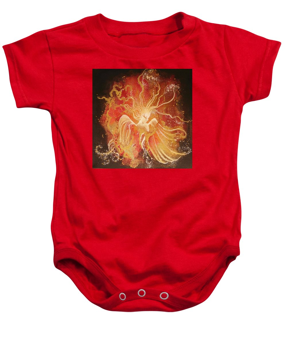 Fire Angel Baby Onesie featuring the painting Blissful Fire Angels by Naomi Walker
