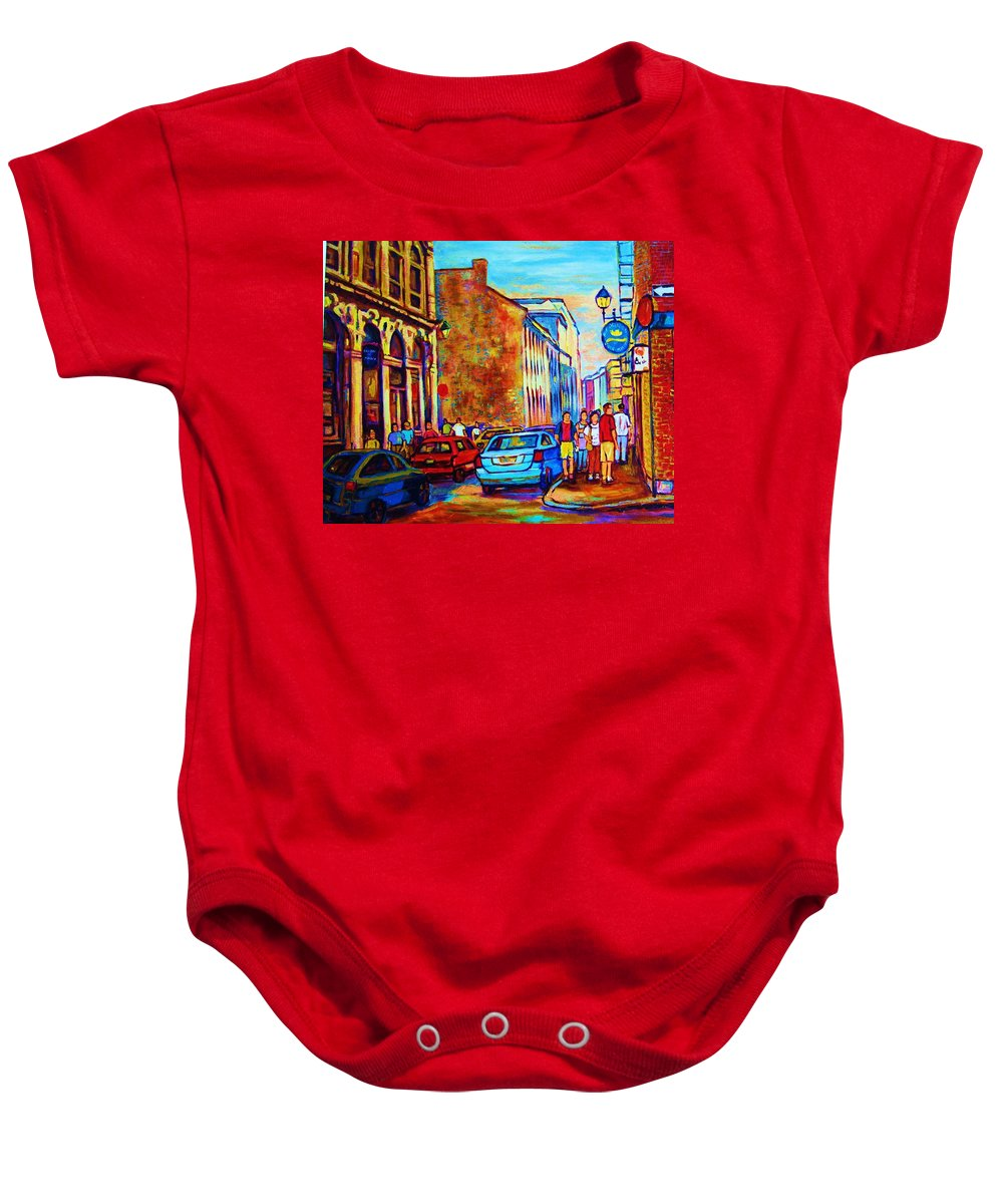 Montreal Baby Onesie featuring the painting Blue Cars At The Resto Bar by Carole Spandau