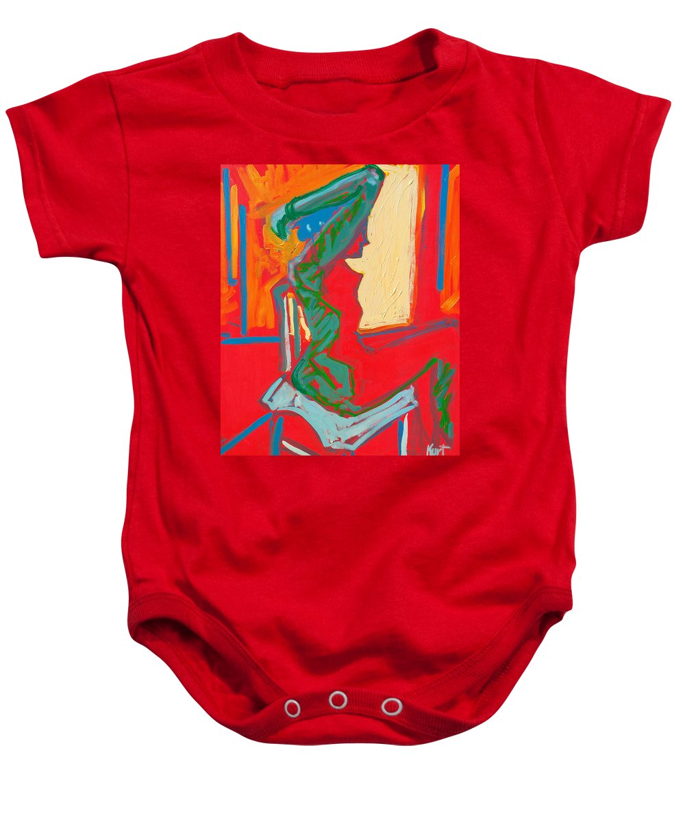 Woman Baby Onesie featuring the painting Blue Chair Study by Kurt Hausmann