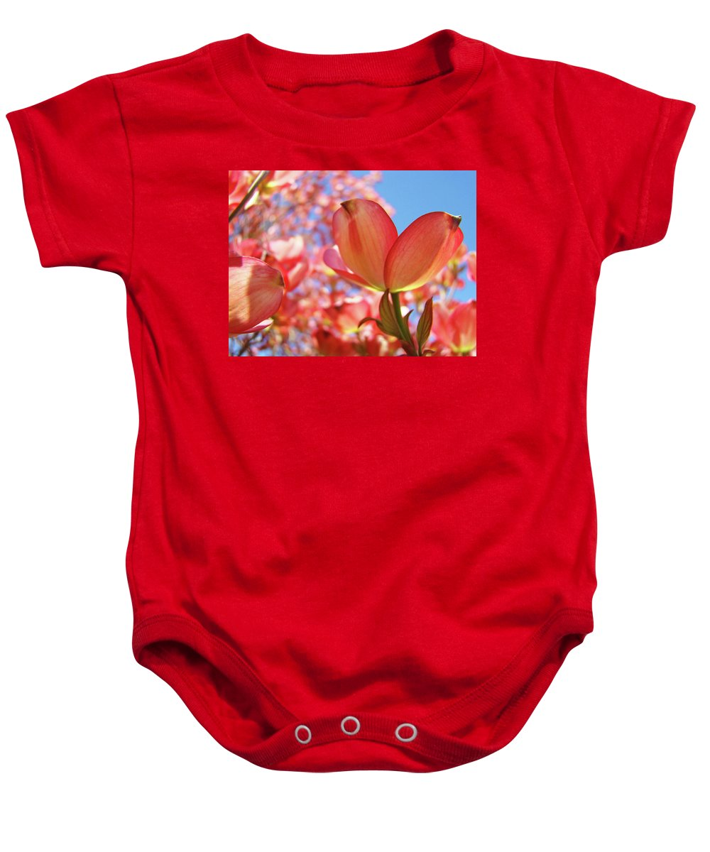 Dogwood Baby Onesie featuring the photograph Blue Sky Pink Azalea Dogwood Flowers 4 Landscape Nature Artwork by Baslee Troutman