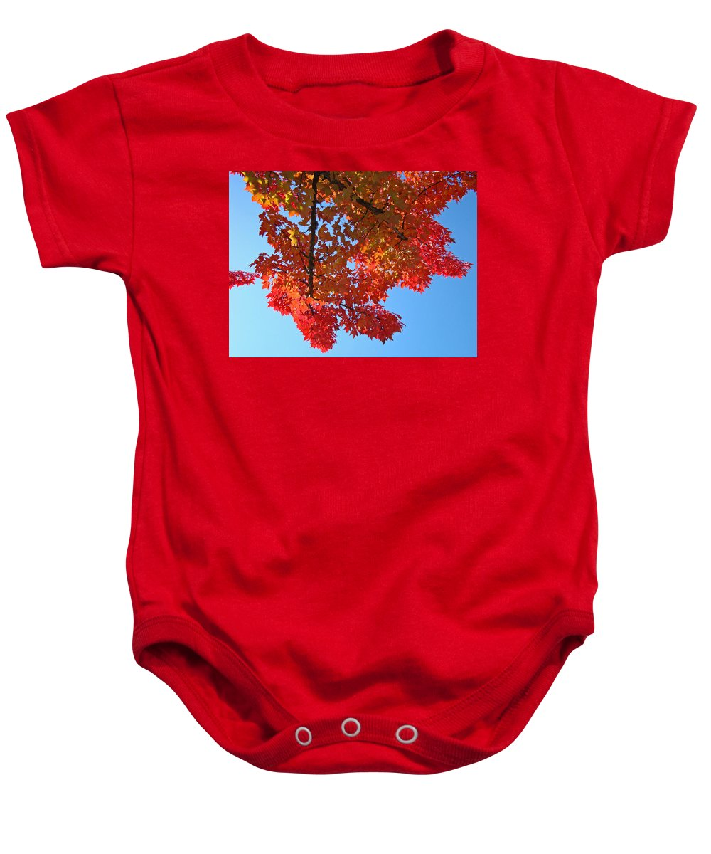 Autumn Baby Onesie featuring the photograph Blue Sky Red Autumn Leaves Sunlit Orange Baslee Troutman by Baslee Troutman