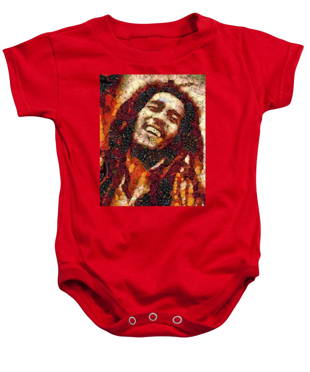 Bob Marley Vegged Out Baby Onesie featuring the digital art Bob Marley Vegged Out by Catherine Lott