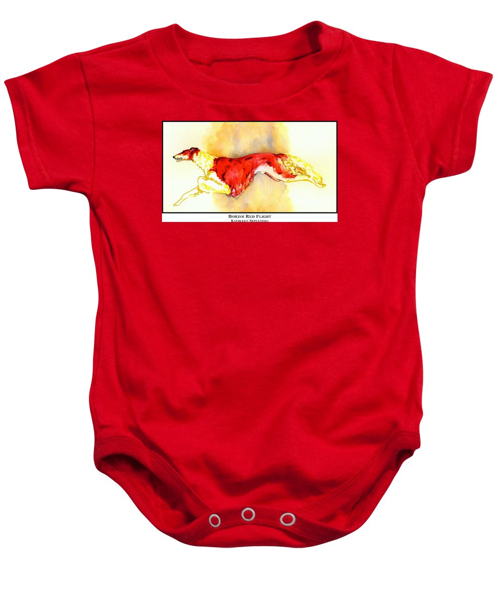 Borzoi Baby Onesie featuring the digital art Borzoi Red Flight by Kathleen Sepulveda