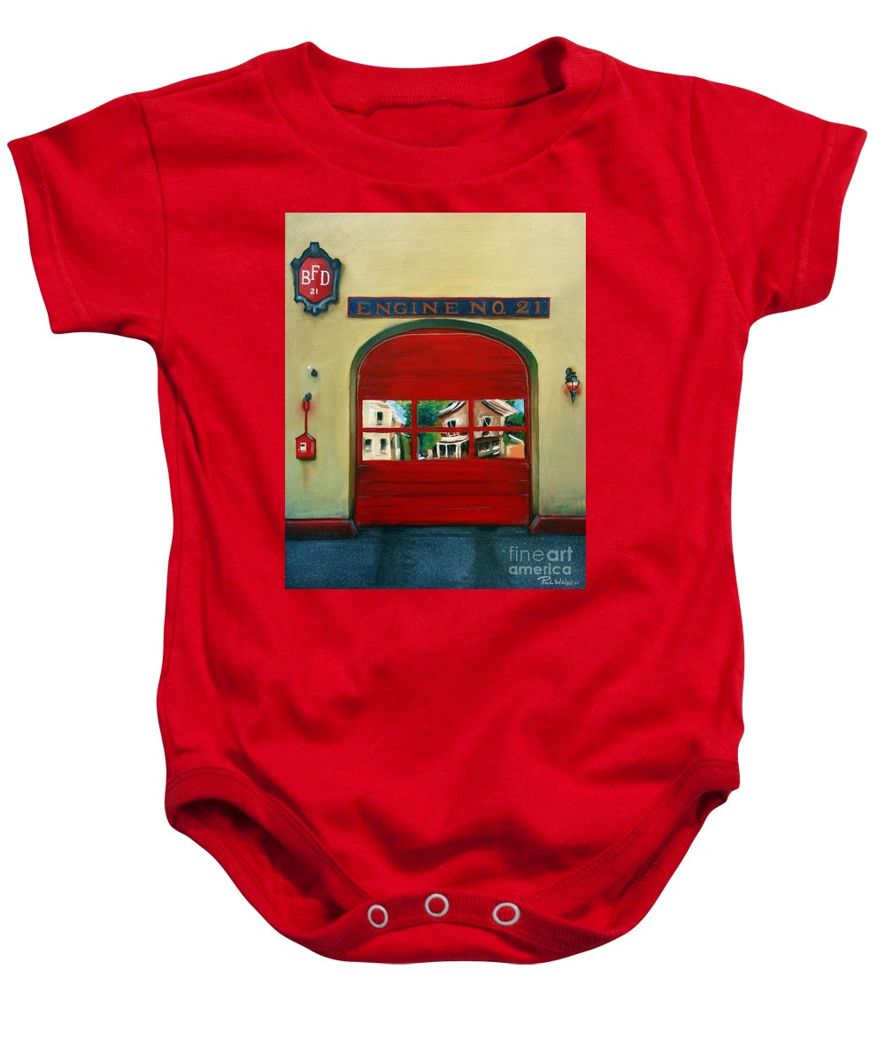 Fire House Baby Onesie featuring the painting Boston Fire Engine 21 by Paul Walsh