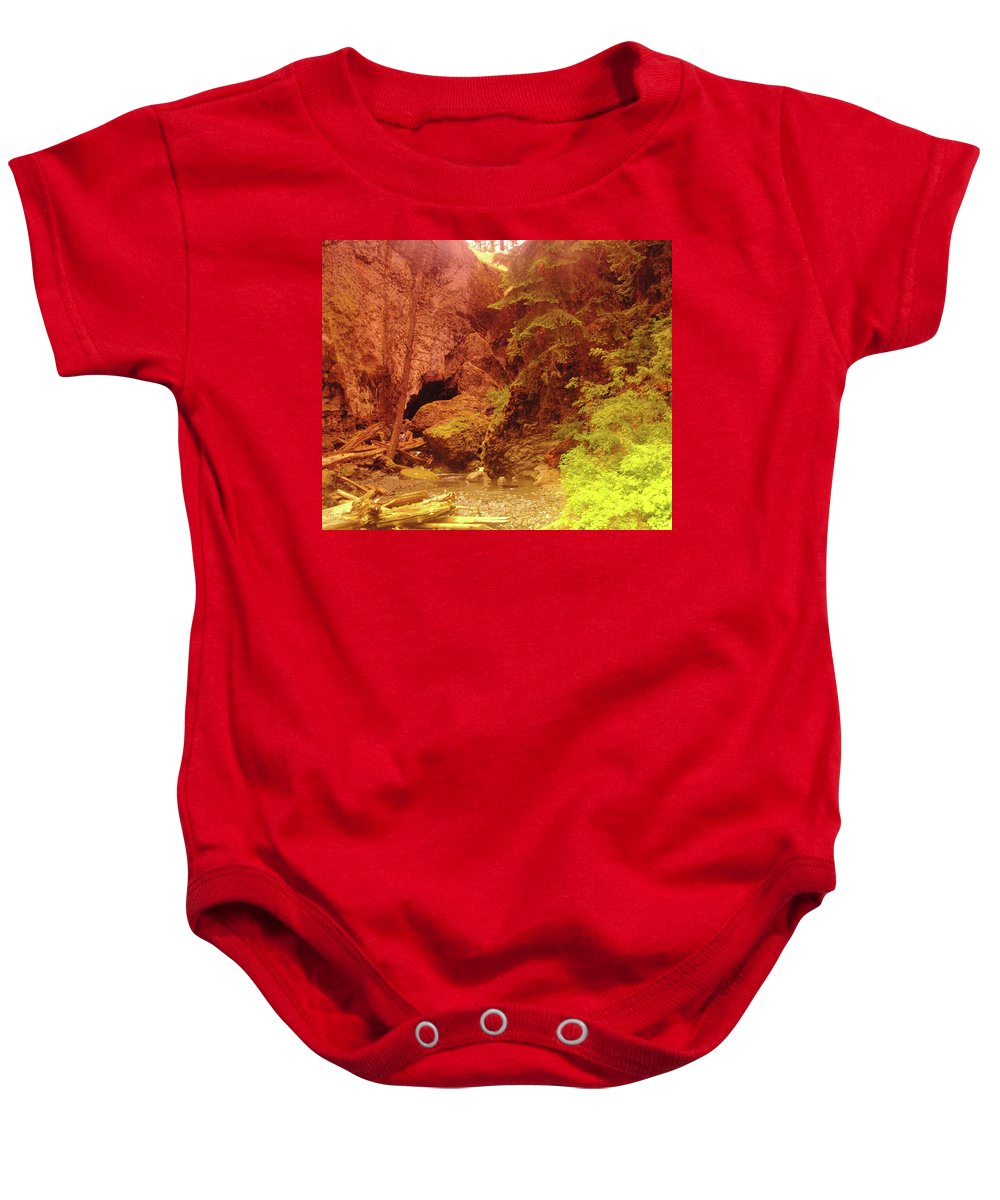 Boulder Cave Baby Onesie featuring the photograph Boulder Cave by Jeff Swan