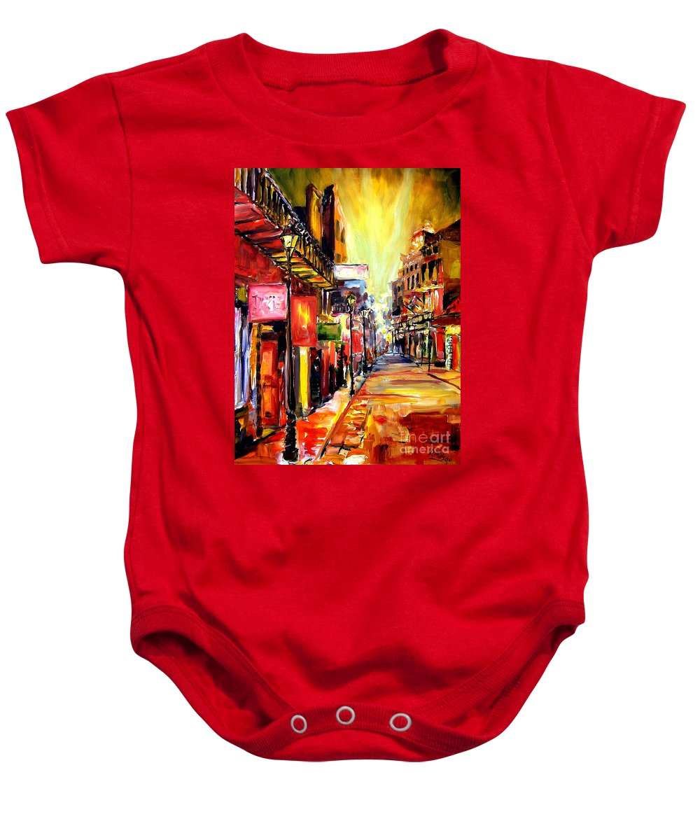 New Orleans Baby Onesie featuring the painting Bourbon Street Dazzle by Diane Millsap
