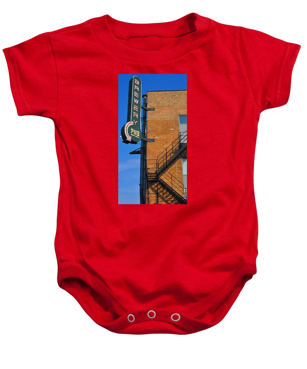 Chicago Baby Onesie featuring the photograph Brewery Pub by Tim Nyberg