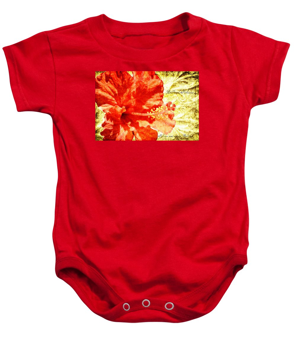 Hibiscus Baby Onesie featuring the digital art Brilliant Hibiscus by Teresa Mucha