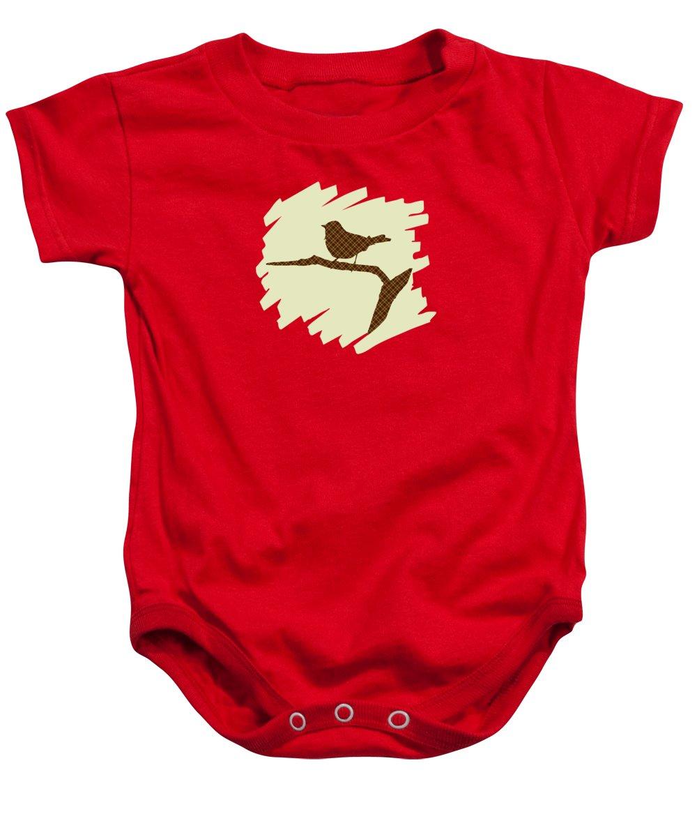 Bird Silhouette Baby Onesie featuring the mixed media Brown Bird Silhouette Modern Bird Art by Christina Rollo