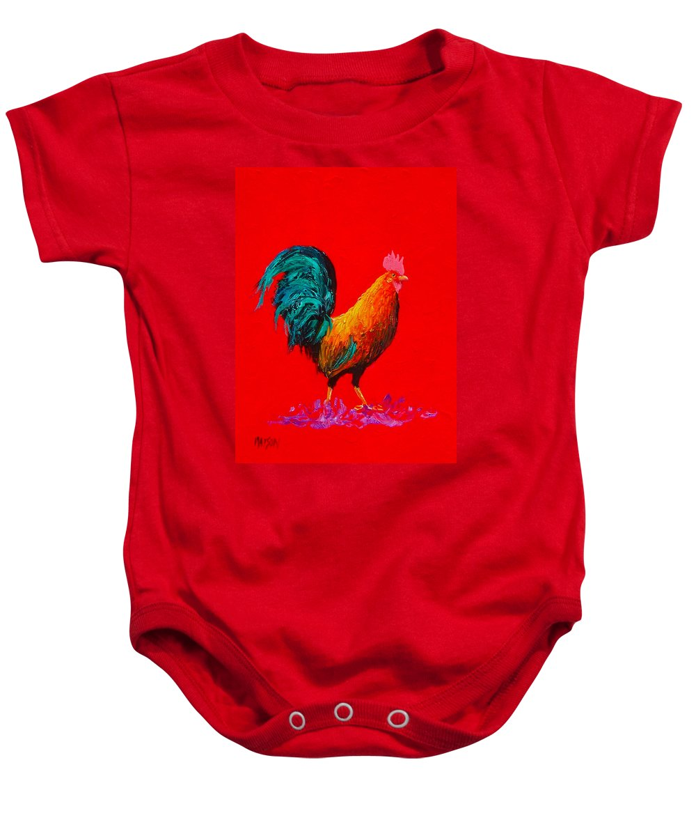 Rooster Baby Onesie featuring the painting Brown Rooster On Red Background by Jan Matson