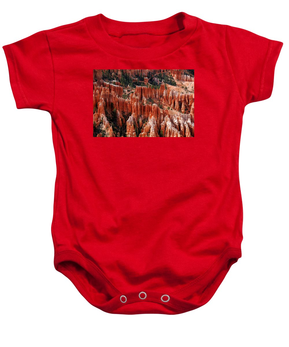 Bryce Canyon Baby Onesie featuring the photograph Bryce Canyon In Utah by Susanne Van Hulst