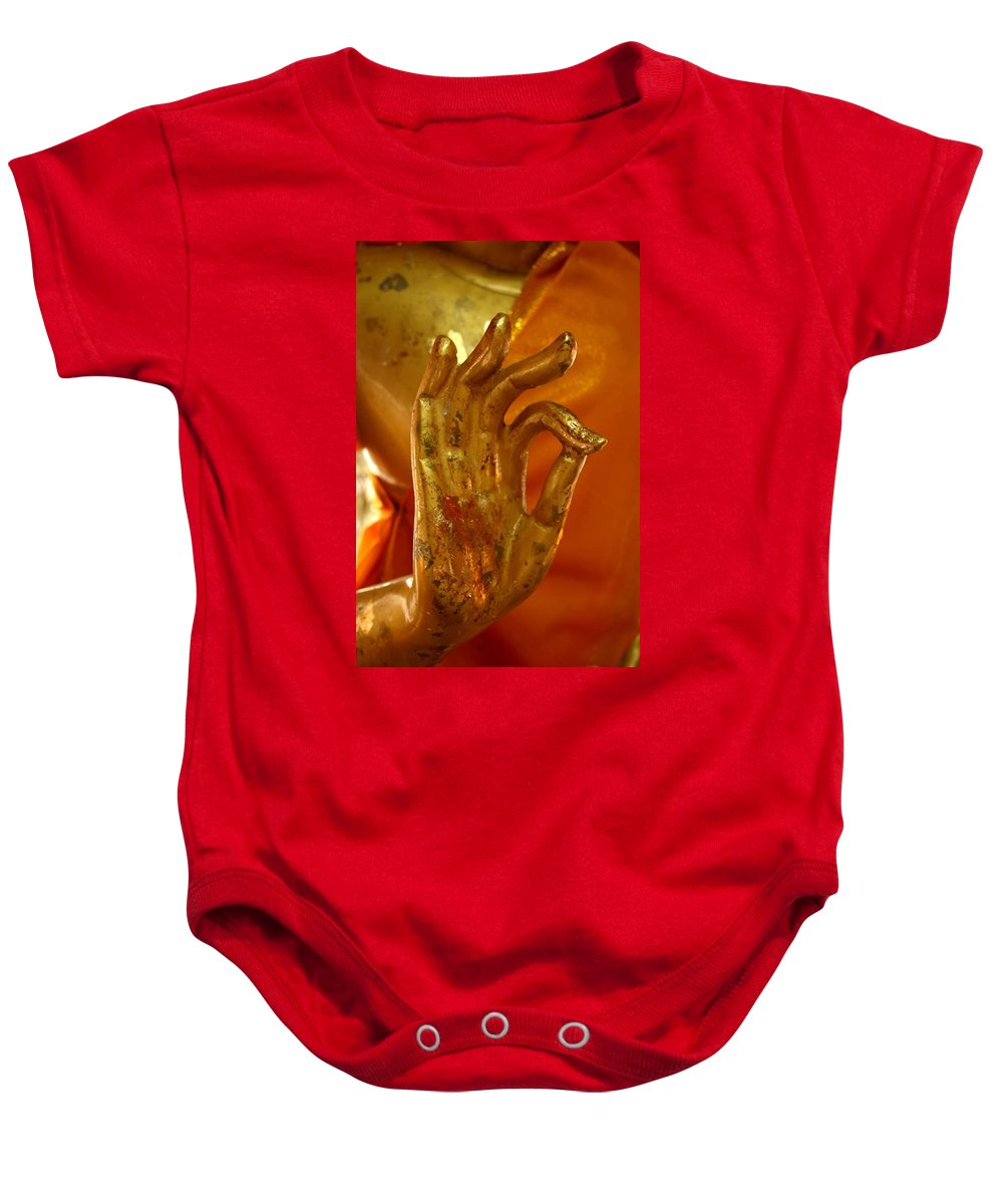 Buddhism Baby Onesie featuring the photograph Buddhism Symbols by Minaz Jantz