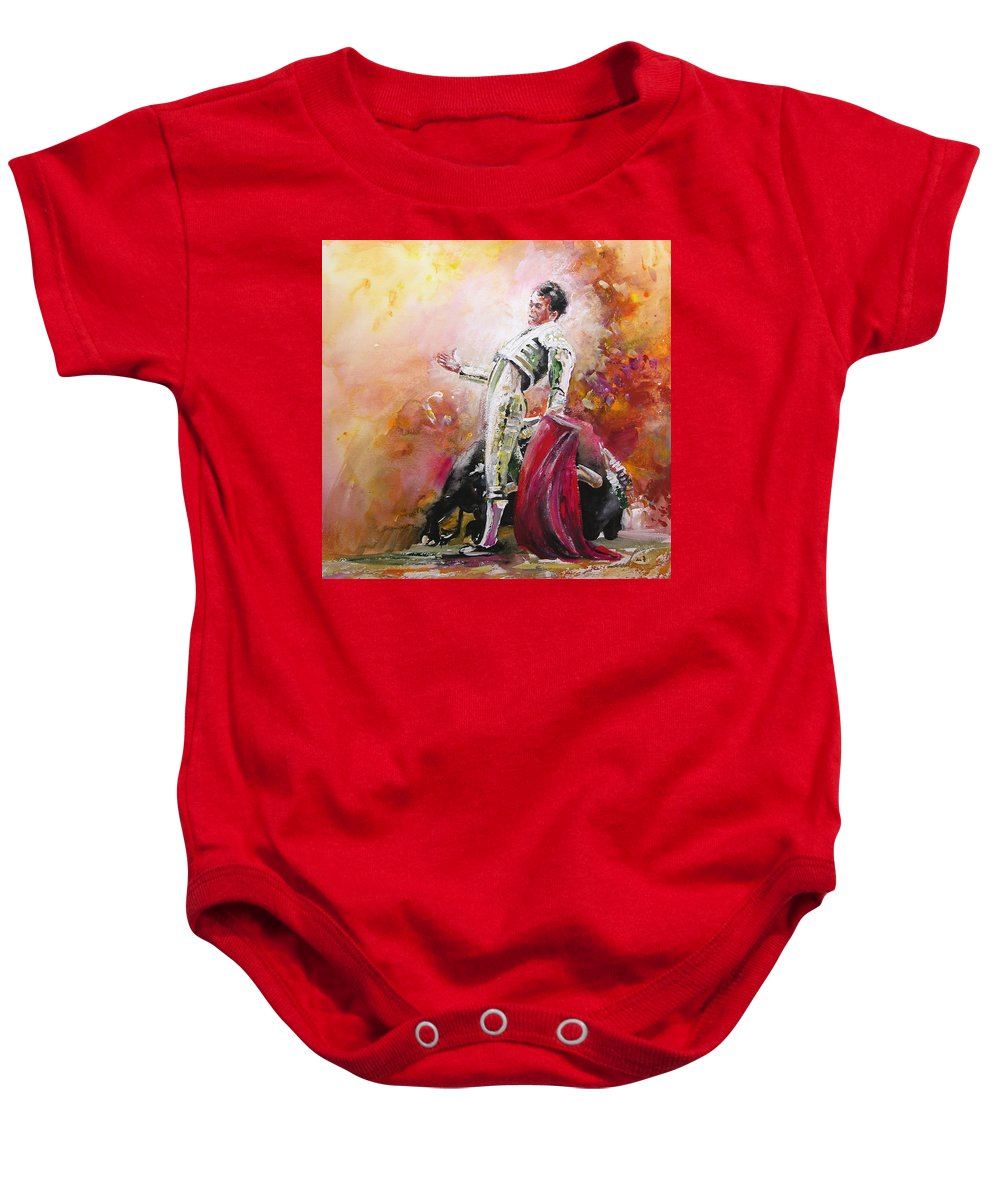 Animals Baby Onesie featuring the painting Bullfight 24 by Miki De Goodaboom