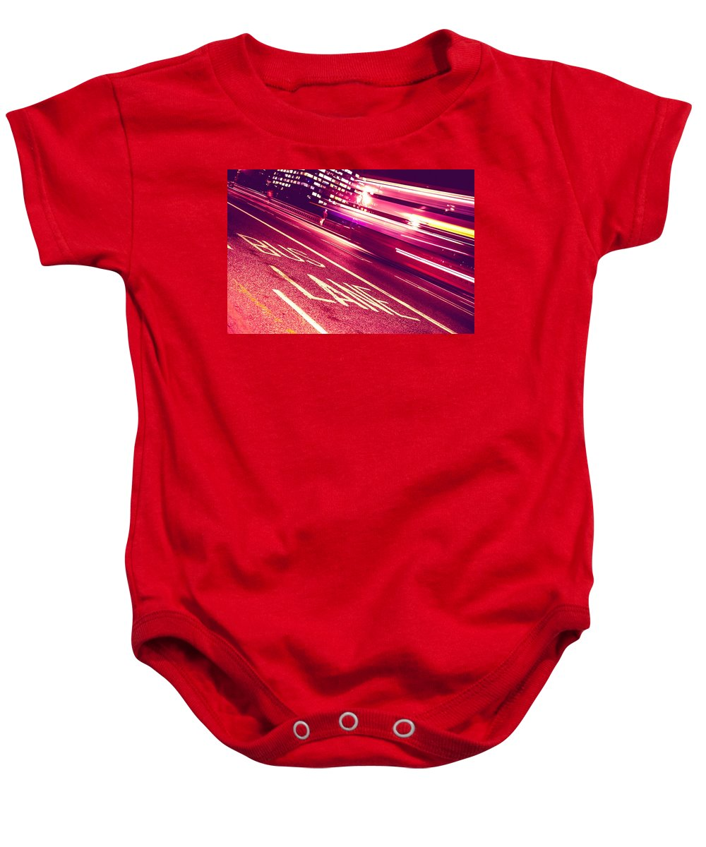 London Baby Onesie featuring the photograph Bus Lane In London Westminster Bridge by Leonardo Patrizi