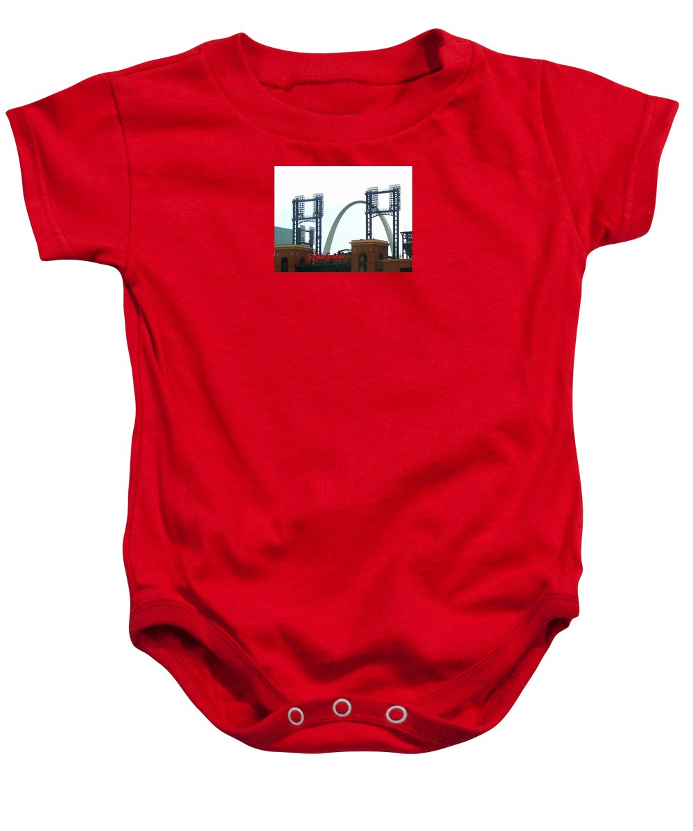 Photograph Baby Onesie featuring the photograph Busch Stadium With Arch by J R Seymour