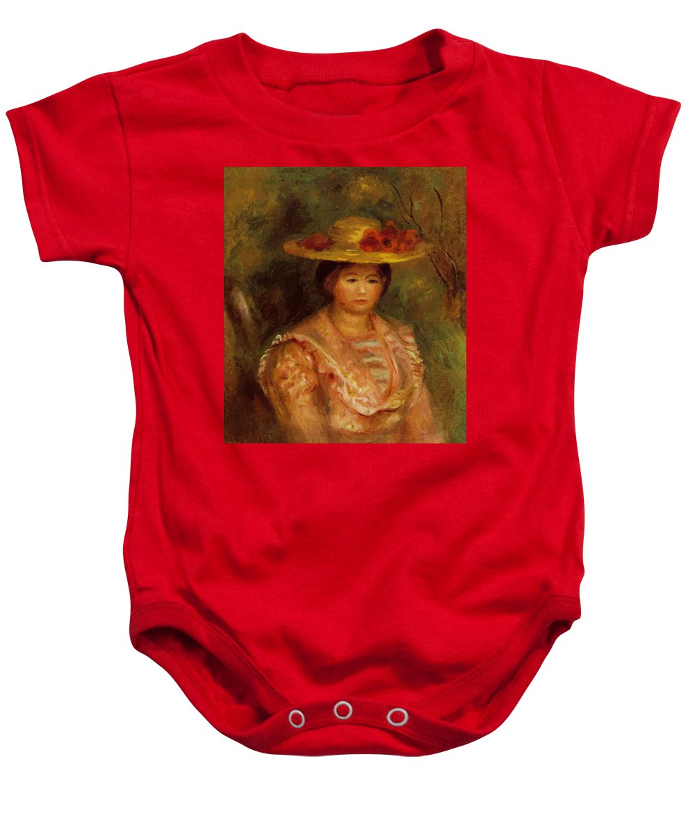 Bust Baby Onesie featuring the painting Bust Of A Woman Gabrielle by Renoir PierreAuguste