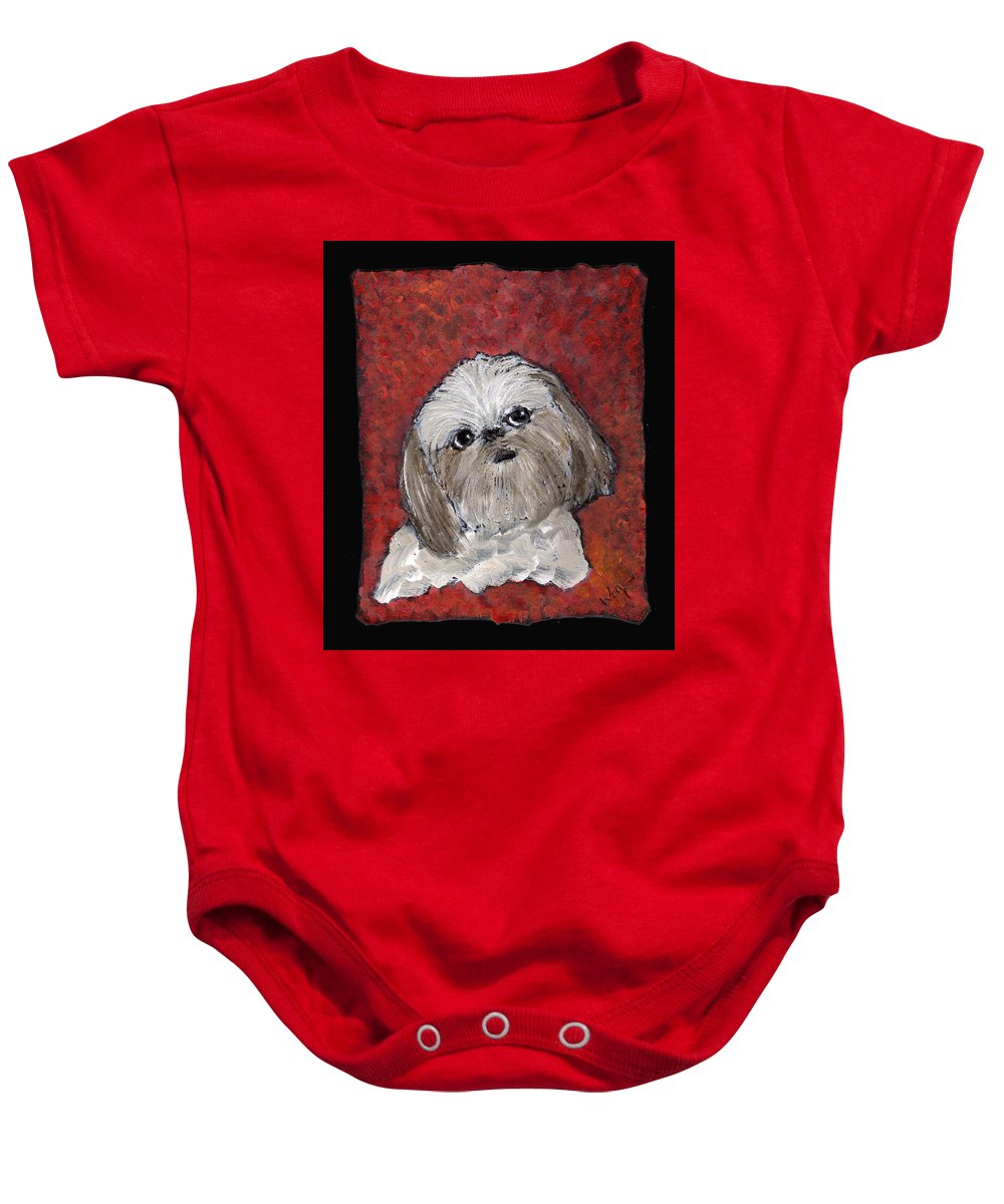 Dog Baby Onesie featuring the painting Buster by Wayne Potrafka