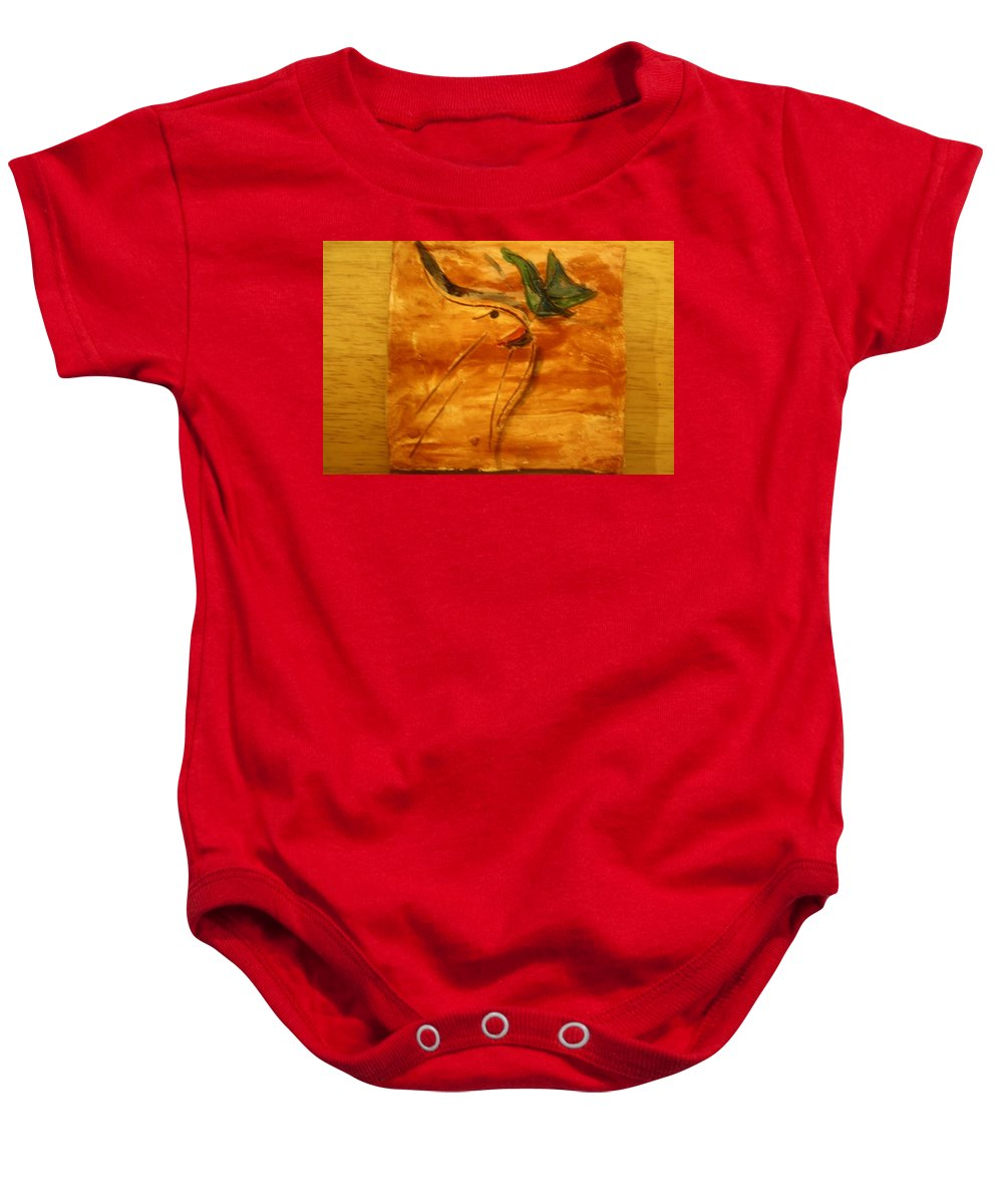 Jesus Baby Onesie featuring the ceramic art Butterfly Kiss - Tile by Gloria Ssali