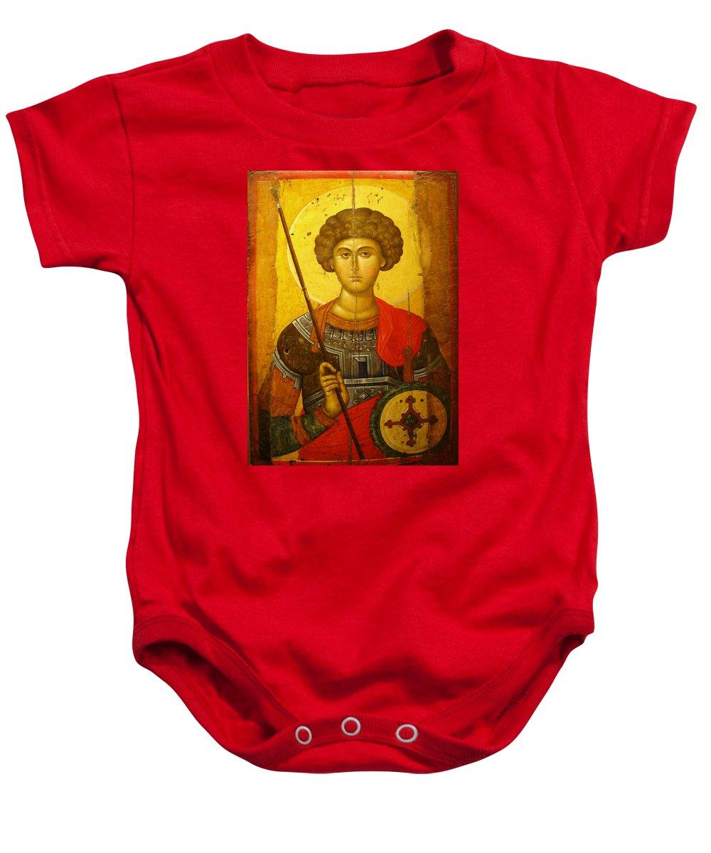 Byzantine Knight Baby Onesie featuring the photograph Byzantine Knight by Ellen Henneke