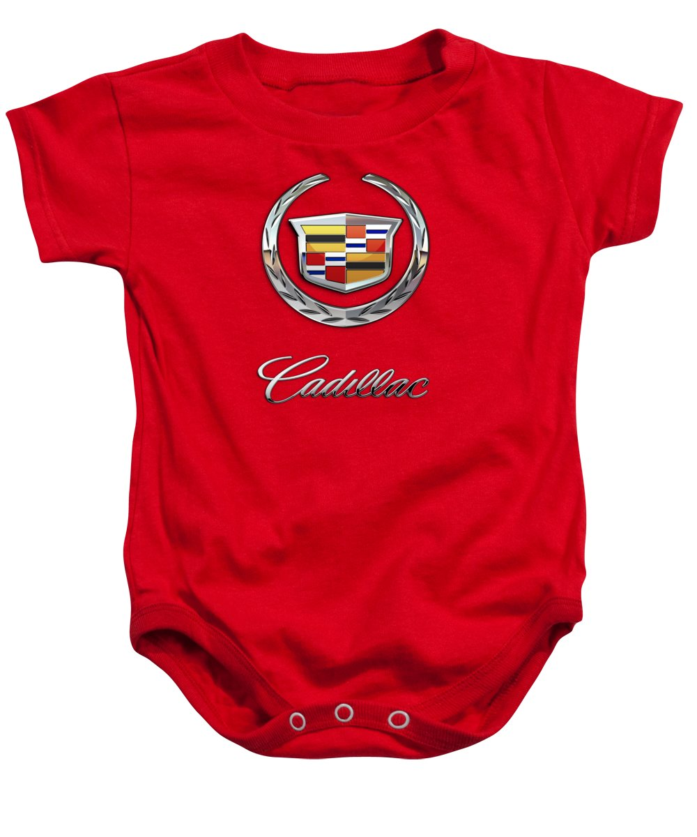 �wheels Of Fortune� Collection By Serge Averbukh Baby Onesie featuring the photograph Cadillac - 3 D Badge on Red by Serge Averbukh