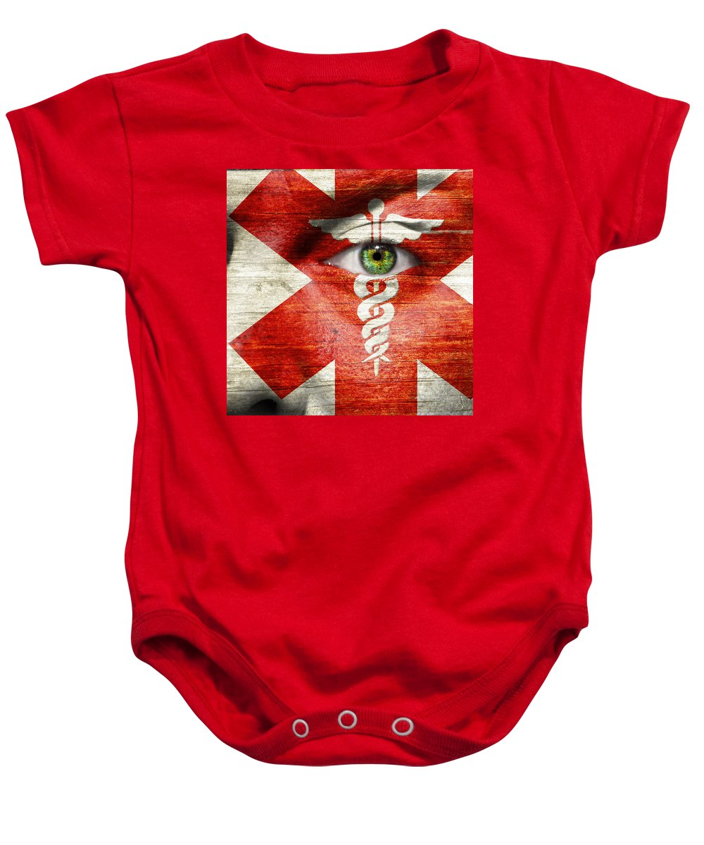 Art Baby Onesie featuring the photograph Caduceus by Semmick Photo