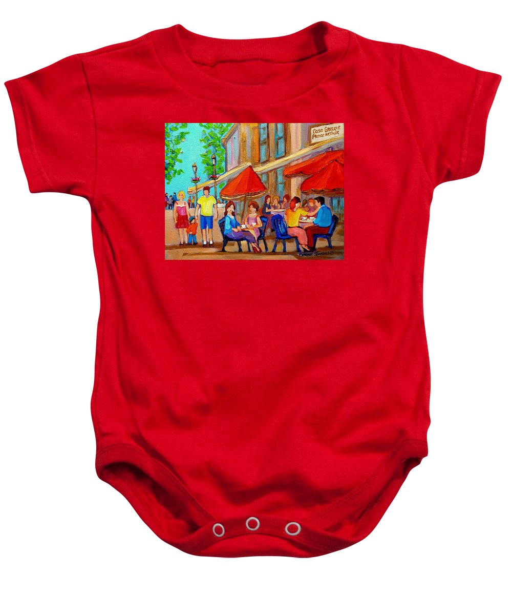 Cafescene Baby Onesie featuring the painting Cafe Casa Grecque Prince Arthur by Carole Spandau