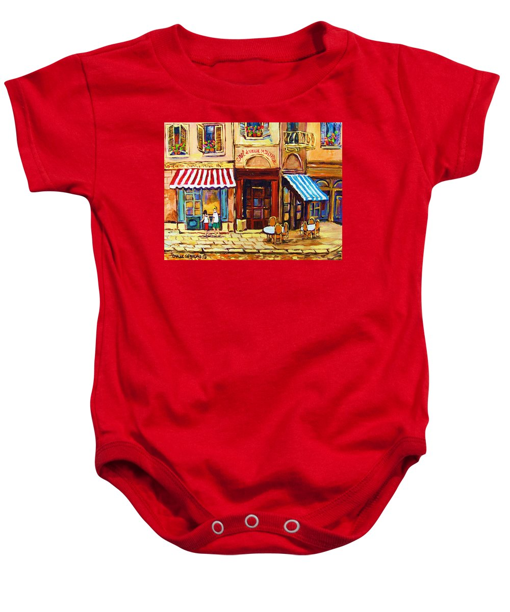 Old Montreal Outdoor Cafe City Scenes Baby Onesie featuring the painting Cafe De Vieux Montreal With Couple by Carole Spandau