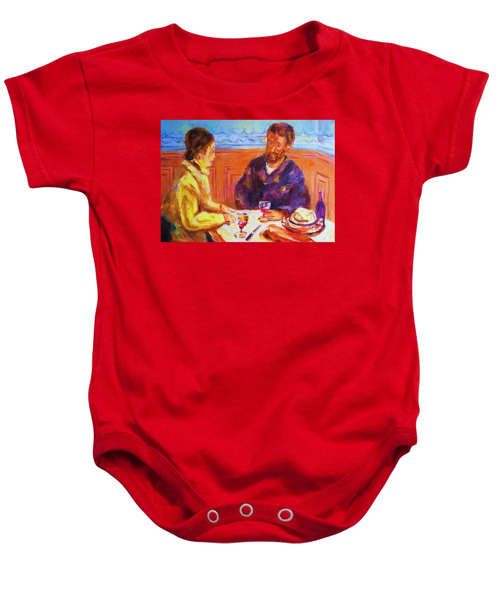 Cafes Baby Onesie featuring the painting Cafe Renoir by Carole Spandau