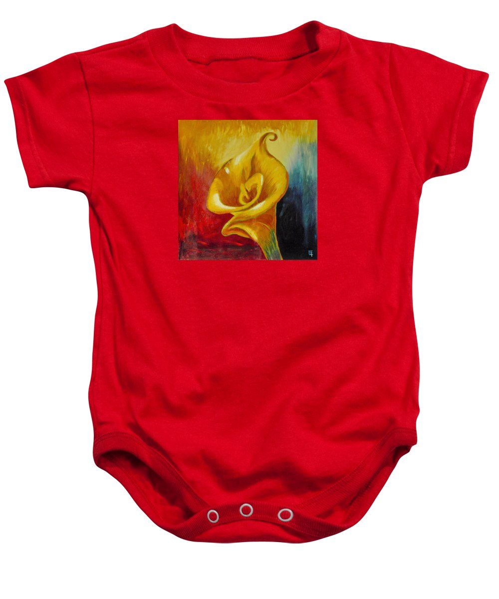 Original Oil Baby Onesie featuring the painting Calla Lilly Part B by Fli Art