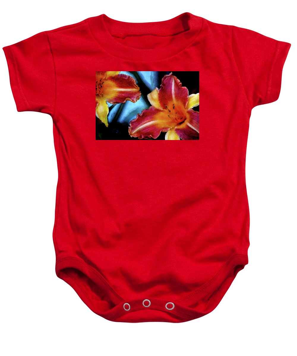 Candied Baby Onesie featuring the photograph Candied Daylilies 1230 Dp_2 by Steven Ward