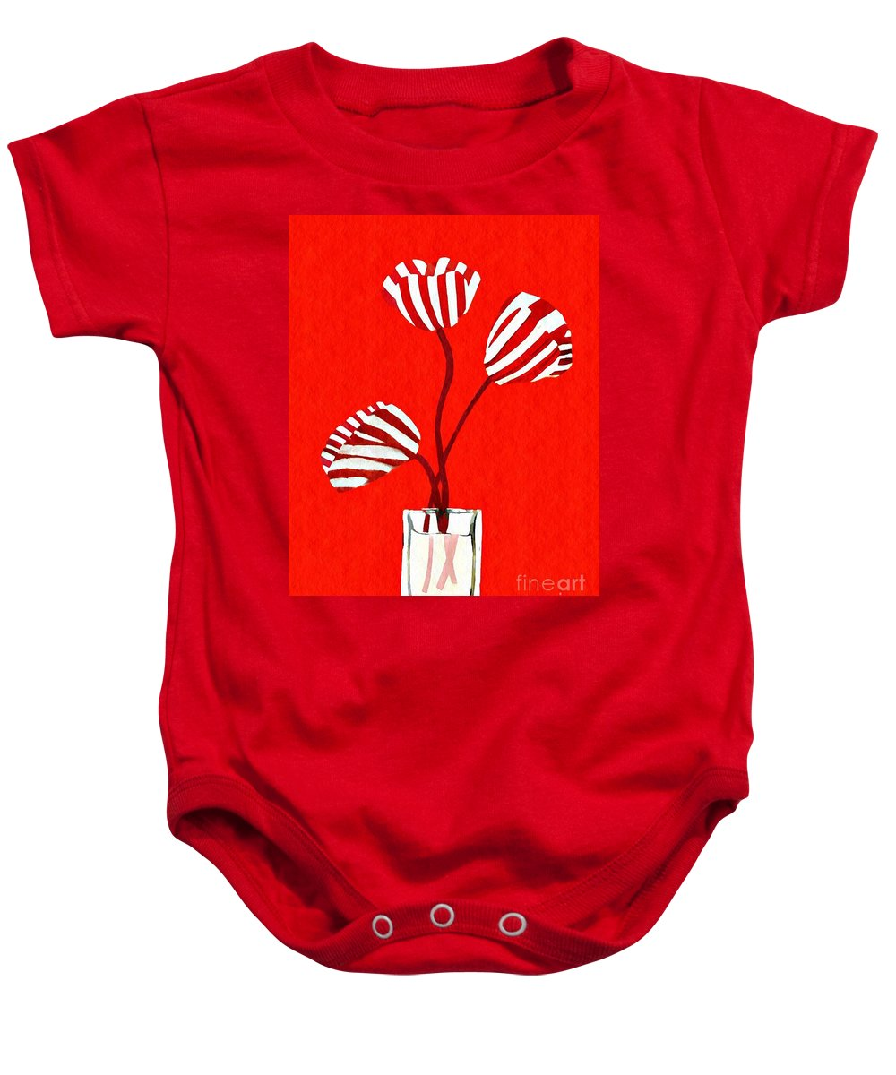 Tulip Baby Onesie featuring the mixed media Candy Stripe Tulips by Sarah Loft