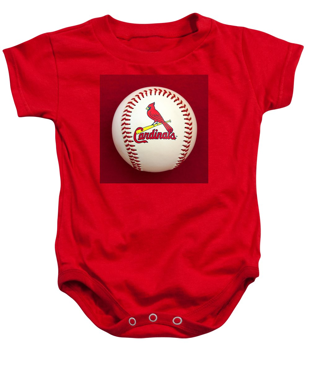 Baseball Baby Onesie featuring the photograph Cardinals by Steve Stuller