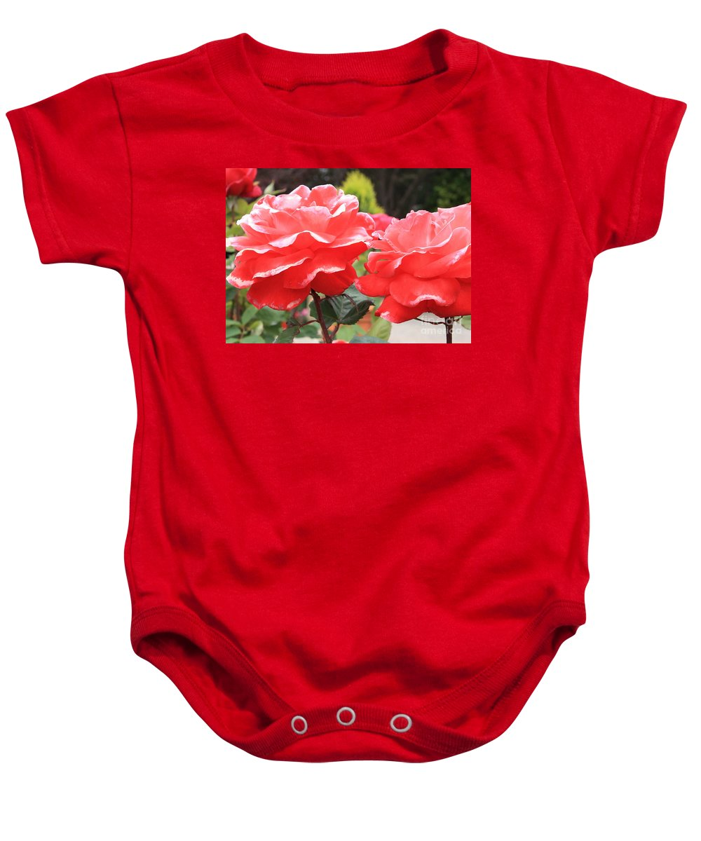 Carmel Mission Baby Onesie featuring the photograph Carmel Mission Roses by Carol Groenen