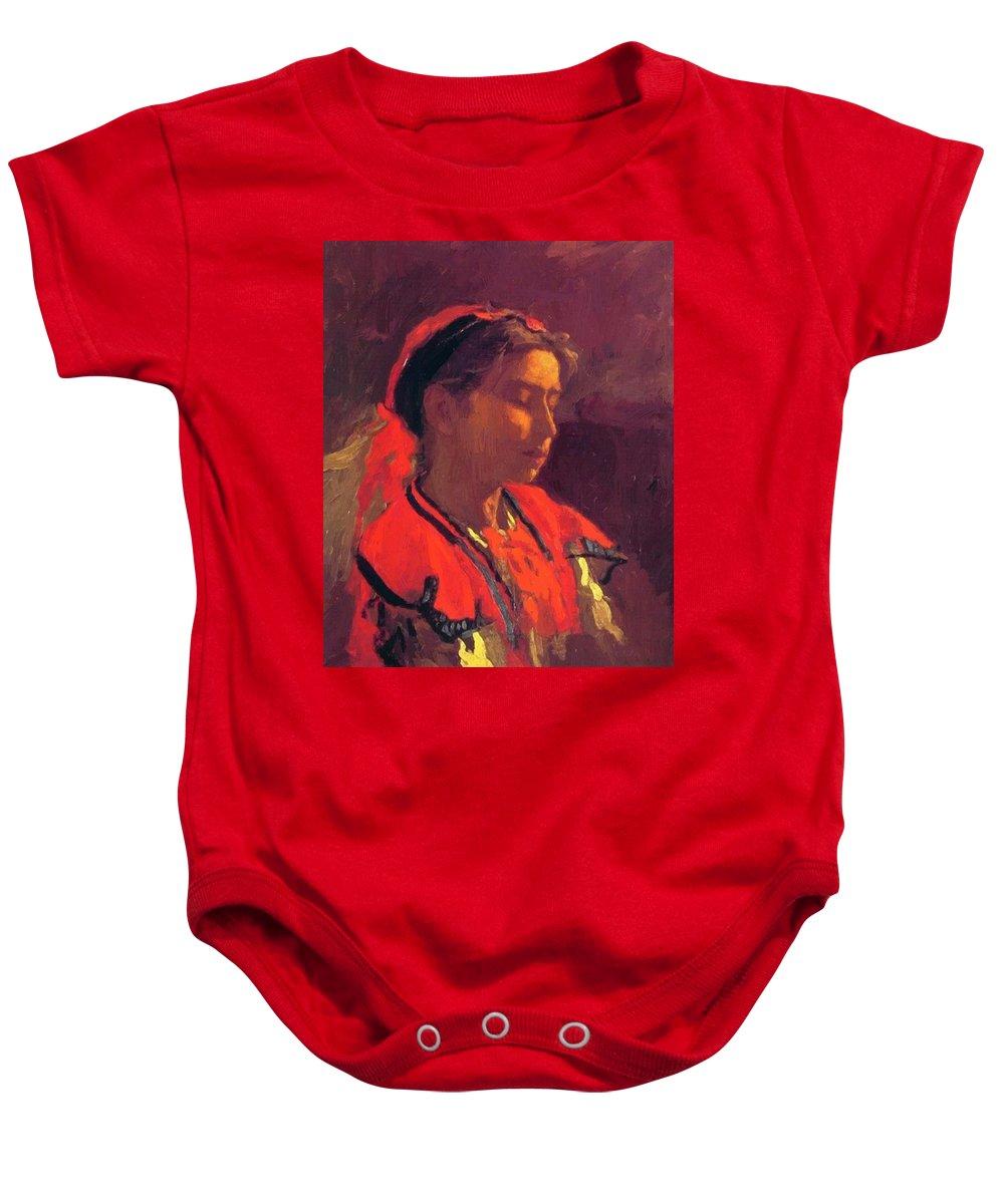 Carmelita Baby Onesie featuring the painting Carmelita Requena 1870 by Eakins Thomas