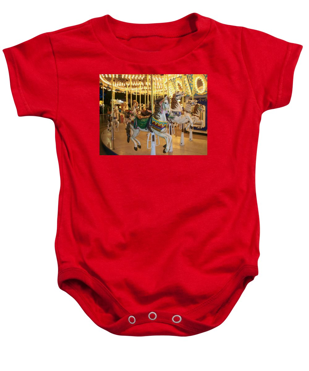 Carousel Horse Baby Onesie featuring the photograph Carousel Horse 4 by Anita Burgermeister