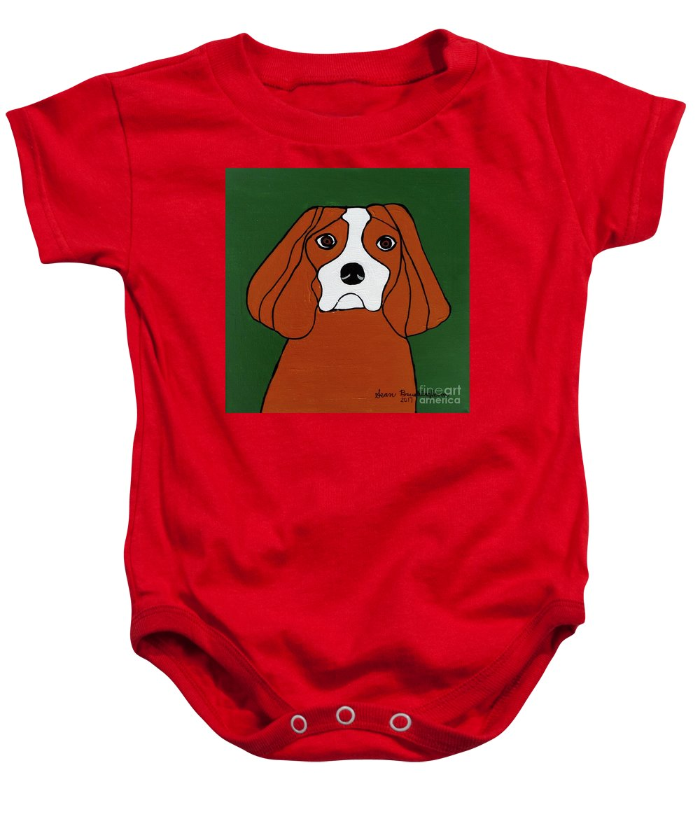 Dog Baby Onesie featuring the painting Cavalier King Charles by Sean Brushingham