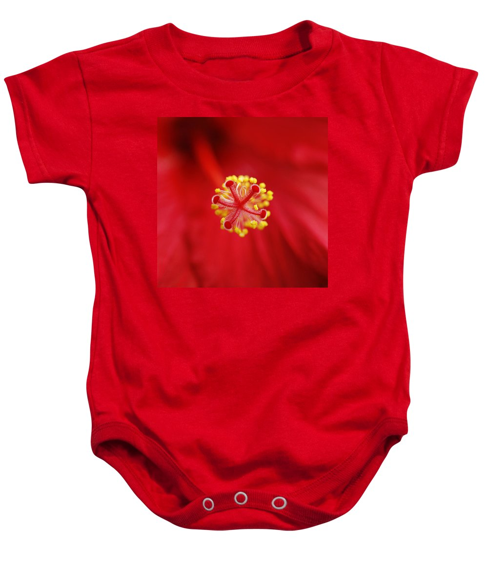 Flower Baby Onesie featuring the photograph Center Of The Hibiscus Universe by Marilyn Hunt