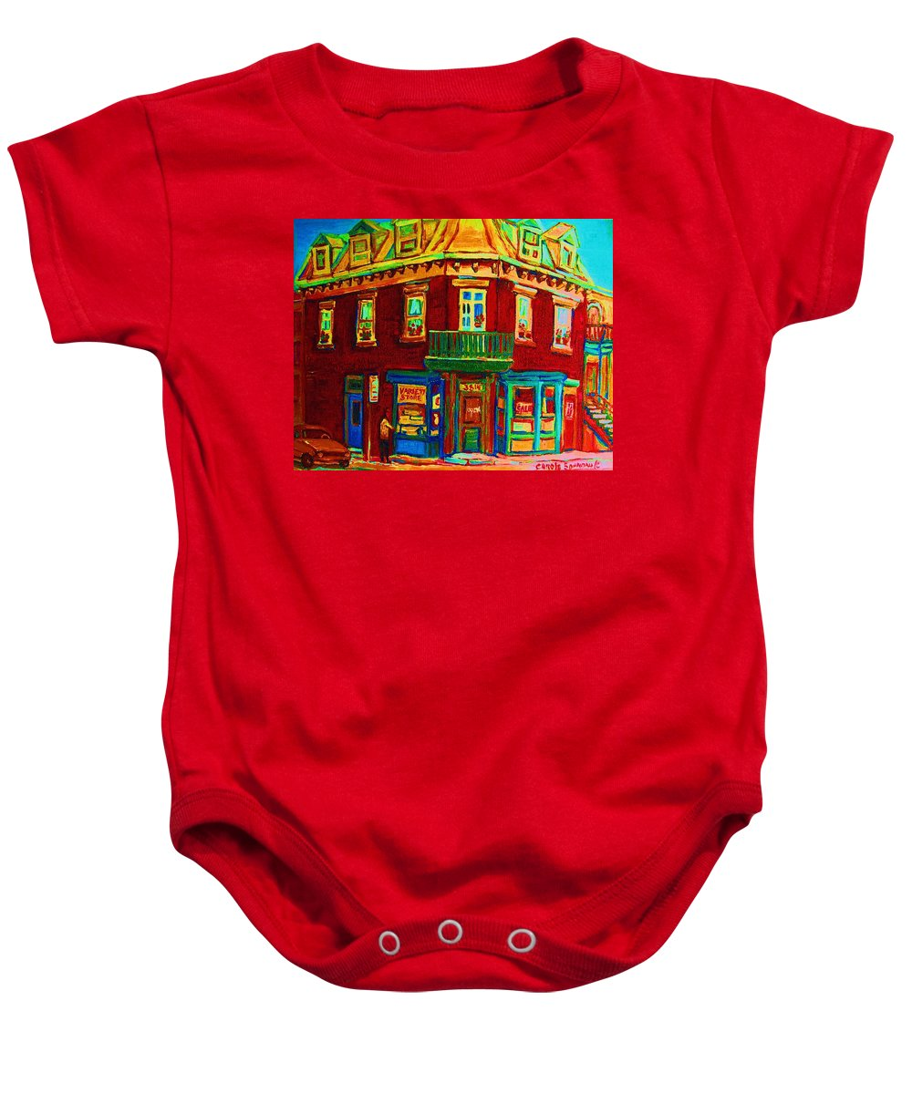 Plateau Montreal Charming Corner Stores Street Scenes Baby Onesie featuring the painting Charming Store On The Corner by Carole Spandau