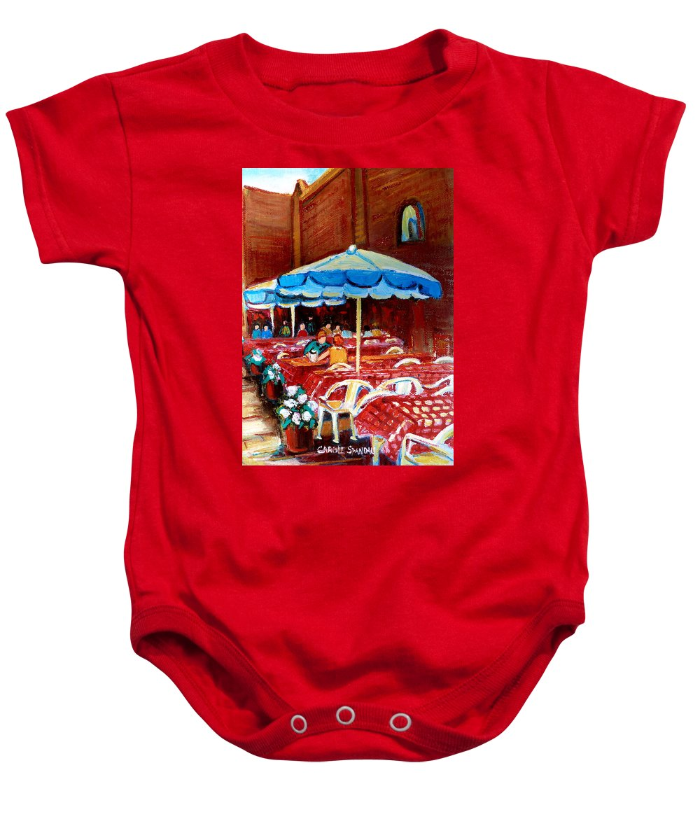 Montreal Baby Onesie featuring the painting Checkered Tablecloths by Carole Spandau