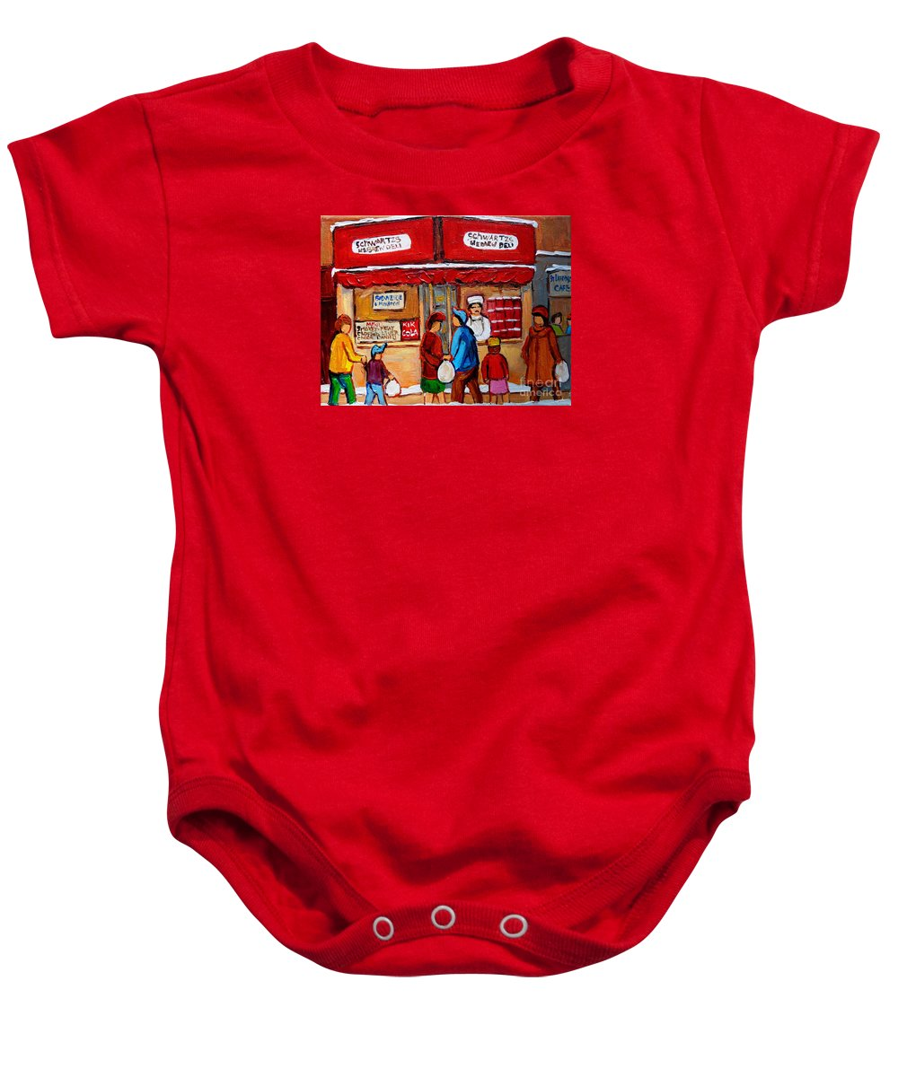 Schwartzs Hebrew Deli Baby Onesie featuring the painting Chef In The Window by Carole Spandau