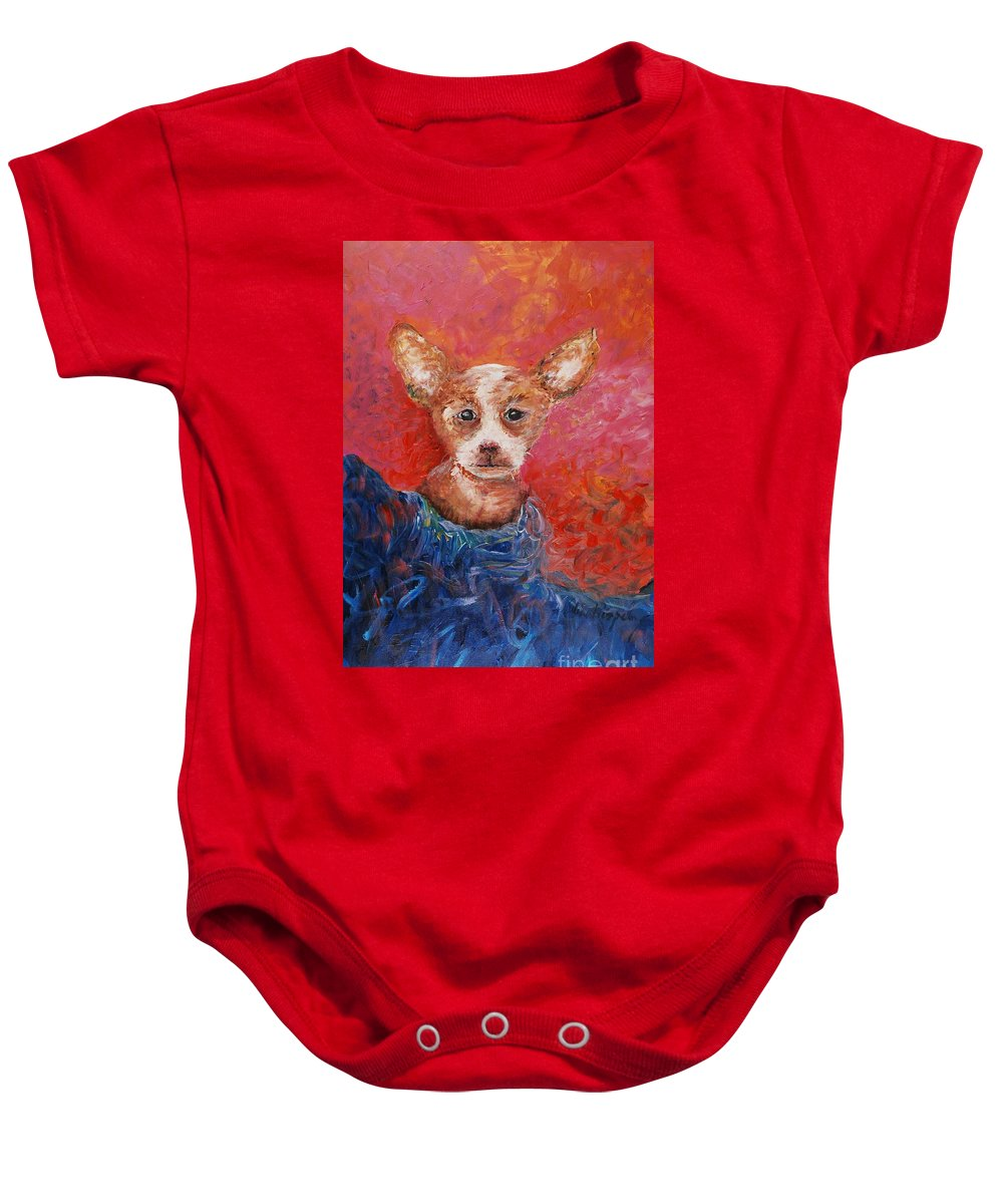 Dog Baby Onesie featuring the painting Chihuahua Blues by Nadine Rippelmeyer