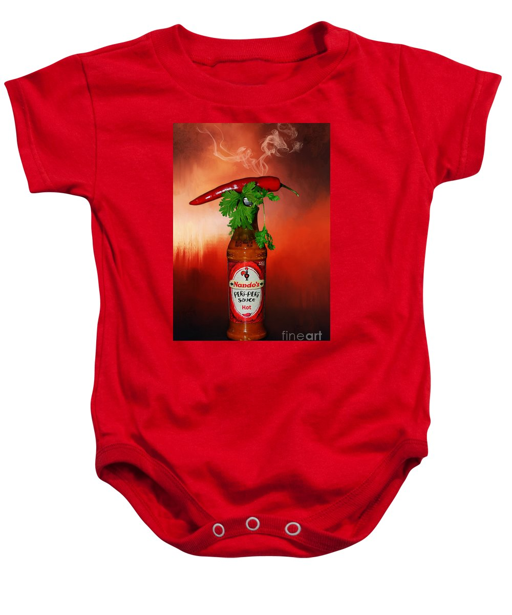 Photography Baby Onesie featuring the photograph Chili Pepper, Coriander And Peri-peri By Kaye Menner by Kaye Menner