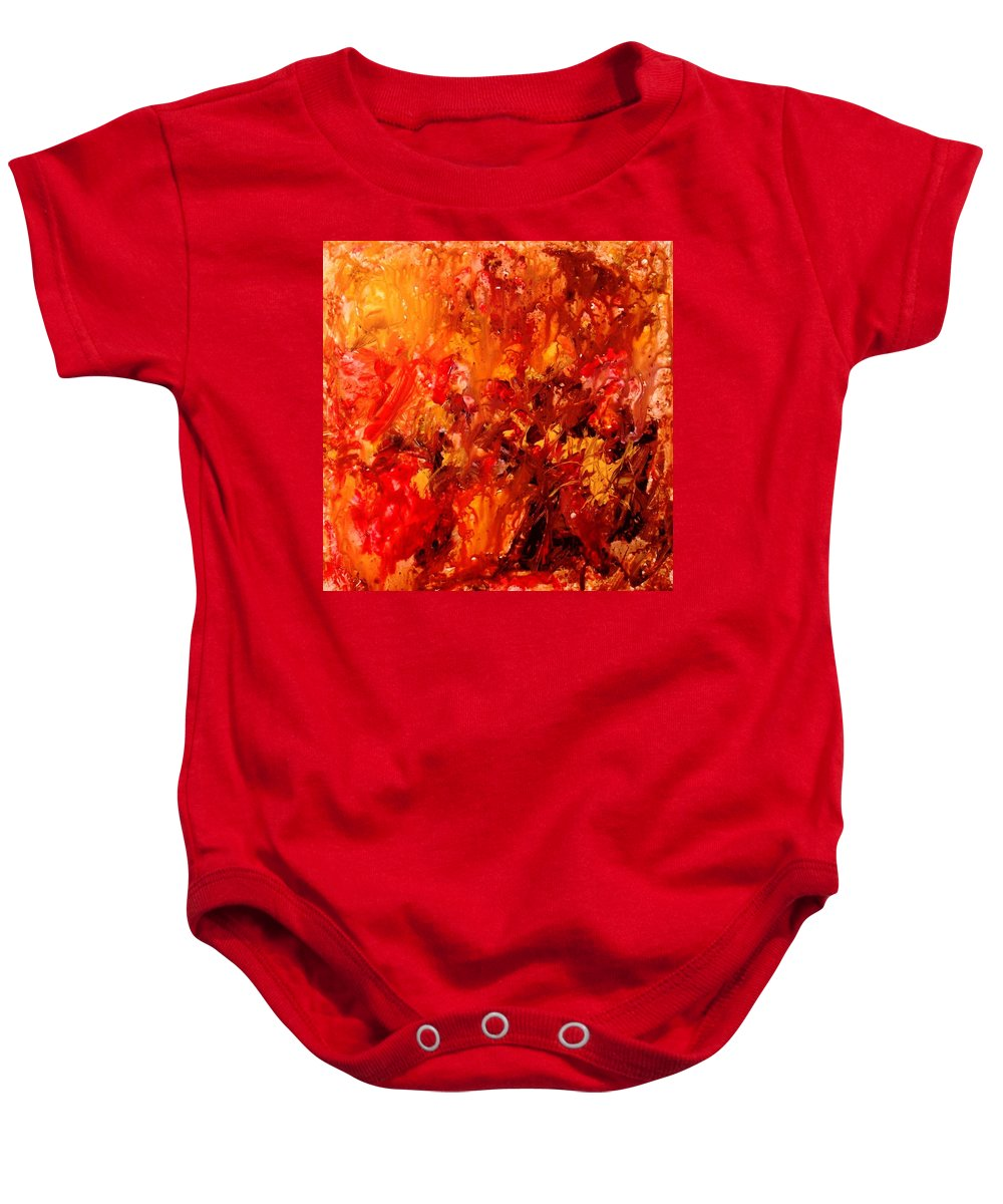 Abstract Baby Onesie featuring the painting Chocolate Cherry Kiss by Natalie Holland