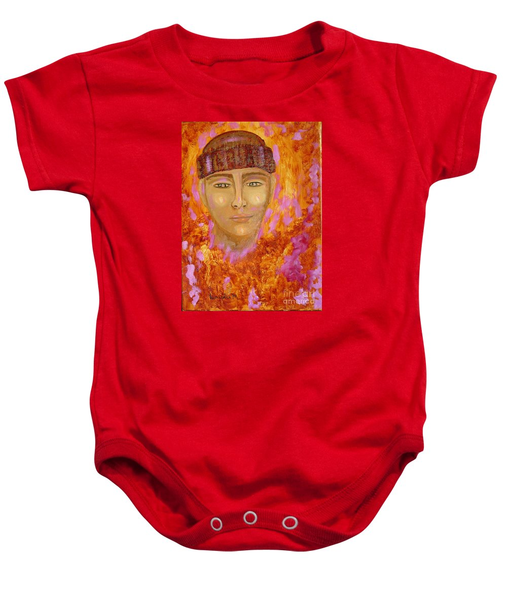 Portrait Baby Onesie featuring the painting Choices by Laurie Morgan